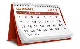 De kalender van september 2019 stock illustratie