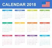 De Kalender van de V.S. voor 2018 Planner, agenda of agendamalplaatje Het begin van de week op Zondag Royalty-vrije Stock Foto