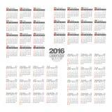 de kalender van 2016 Vector illustratie Royalty-vrije Stock Afbeeldingen