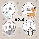 De kalender van vier maanden van 2016 Stock Foto