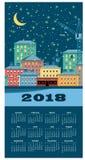 de kalender van de de winterstad van 2018 Royalty-vrije Stock Foto's