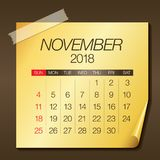 De kalender vectorillustratie van november 2018 Royalty-vrije Stock Foto's