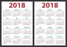 De kalender voor 2018 begint zondag en maandag, het vectorjaar van het kalenderontwerp 2018 Stock Foto's