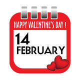 De kalenderblad van de Dag van de valentijnskaart Stock Afbeeldingen