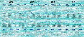 De kalendermalplaatjes van vier jaar - 2016, 2017, 2018 en 2019 stock foto's