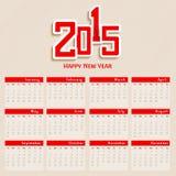 de kalenderontwerp van 2015 Royalty-vrije Stock Foto