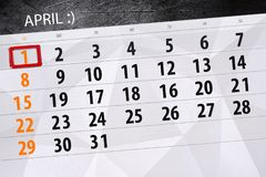 De kalenderpagina 2018 April 1 van de dwazendag stock foto