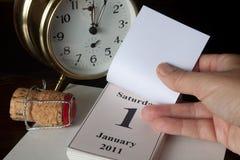 De kalenderpagina van het nieuwe jaar Stock Foto's
