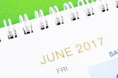 De kalenderpagina van juni 2017 Stock Afbeelding