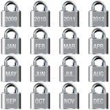 De kalenderpictogrammen van het jaar en van de maand op slotknopen Royalty-vrije Stock Foto's