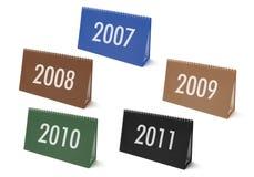 De Kalenders van het bureau met Jaren Stock Afbeeldingen