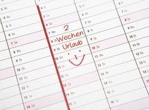 De kalendervakantie van twee weken Stock Foto