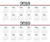 De kalendervector van jaar 2018 2019 vector illustratie