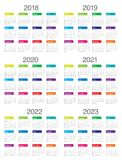 De kalendervector van 2023 van 2022 van 2021 van 2020 van jaar 2018 2019 Stock Foto