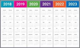 De kalendervector van 2023 van 2022 van 2021 van 2020 van jaar 2018 2019 Royalty-vrije Stock Afbeelding
