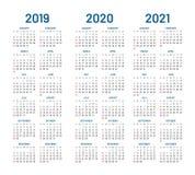 De kalendervector van 2021 van jaar 2019 2020 Stock Foto