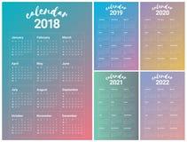 De kalendervector van 2022 van 2021 van 2020 van jaar 2018 2019 Royalty-vrije Stock Fotografie