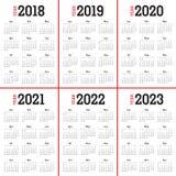 De kalendervector van 2023 van 2022 van 2021 van 2020 van jaar 2018 2019 Stock Fotografie