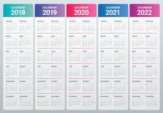 De kalendervector van 2022 van 2021 van 2020 van jaar 2018 2019 Royalty-vrije Stock Afbeelding