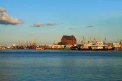 De Kaliningrad-haven in de avond in Augustus Stock Fotografie