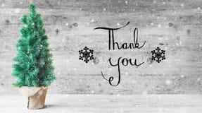 De kalligrafie, dankt u, Kerstboom, Sneeuwvlokken Royalty-vrije Stock Foto