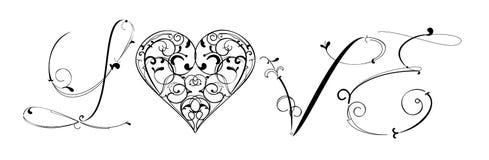 De Kalligrafie van de liefde Stock Fotografie