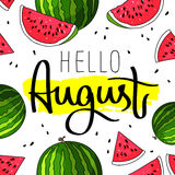 De kalligrafie van Hello August Fashionable Stock Afbeelding