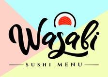 De kalligrafie van de het menuhand van Wasabisushi het van letters voorzien op kleurrijke achtergrond, embleem van Japans voedsel vector illustratie