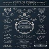 De kalligrafische reeks van het elementen uitstekende ornament Vectorkaders orname Royalty-vrije Stock Afbeelding