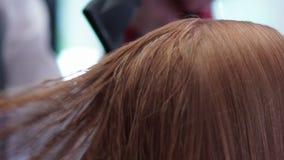 De kam door het haar wordt gedragen, het haar is droog door hairdryer die Slow-motion stock video