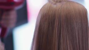 De kam door het haar wordt gedragen, het haar is droog door hairdryer die Slow-motion stock videobeelden