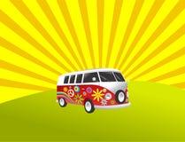 De kampeerauto retro uitstekende bestelwagen van de hippie stock illustratie