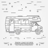 De kampeerauto van de reizigersvrachtwagen verdunt lijn Het kamperen rv het pictogram van het de caravanoverzicht van de aanhangw vector illustratie