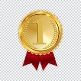 De kampioen Art Golden Medal met het Rode die Pictogram van Lintl ondertekent Eerste Plaats op Transparante Achtergrond wordt geï vector illustratie