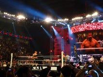 De kampioen Seth Rollins heft handen in lucht op aangezien hij zich op tur bevindt Stock Foto's