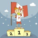De kampioen van de beeldverhaalillustratie van Canada op het podium met de vlag in zijn hand stock illustratie