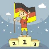 De kampioen van de beeldverhaalillustratie van Duitsland met een gouden medaille in de tanden en met vlag in zijn hand vector illustratie