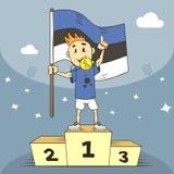 De kampioen van de beeldverhaalillustratie van Estland met een toekenning en met in hand vlag royalty-vrije illustratie