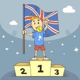 De kampioen van de beeldverhaalillustratie van Groot-Brittannië met vlag in zijn hand stock illustratie
