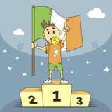 De kampioen van de beeldverhaalillustratie van Ierland in de eerste plaats met in hand vlag vector illustratie