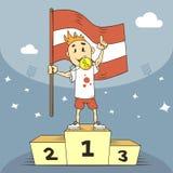 De kampioen van de beeldverhaalillustratie van Letland met een gouden toekenning vector illustratie