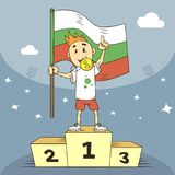 De kampioen van de beeldverhaalillustratie van de medaille en de vlag van Bulgarije in zijn hand stock illustratie
