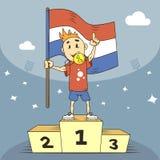 De kampioen van de beeldverhaalillustratie van Netherland met een gouden medaille en een vlag in zijn hand stock illustratie