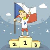 De kampioen van de beeldverhaalillustratie van de Tsjechische Republiek met een medaille en vlag in zijn hand stock illustratie