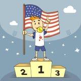 De kampioen van de beeldverhaalillustratie van de V.S. op het podium met vlag in zijn hand royalty-vrije illustratie