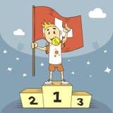 De kampioen van de beeldverhaalillustratie van Zwitserland met vlag in zijn hand vector illustratie