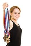 De kampioen van het meisje stock afbeeldingen