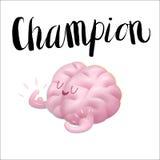 De kampioensillustratie en het van letters voorzien, leiden uw hersenen op Stock Afbeelding