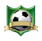 De kamtoekenning van het voetbal met leeg gouden etiket Royalty-vrije Stock Foto