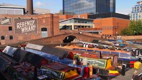 De kanalen in Birmingham, Engeland stock afbeelding